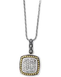 "Effy Collection - Balissima By Effy® Diamond Cluster 18"" Pendant Necklace (1/5 Ct. T.w.) In Sterling Silver & 18k Gold - Lyst"
