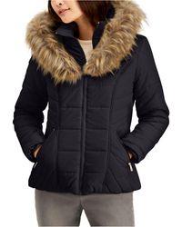 Maralyn & Me Juniors' Hooded Faux-fur-trim Puffer Coat - Multicolor