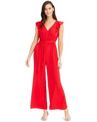 Charter Club Flutter-sleeve Cropped Jumpsuit, Created For Macy's - Red