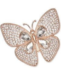 Charter Club Rose Gold-tone Crystal Butterfly Pin, Created For Macy's - Metallic