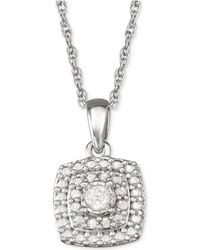 "Macy's - Diamond Halo 18"" Pendant Necklace (1/10 Ct. T.w.) In Sterling Silver - Lyst"