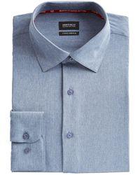 Buffalo David Bitton Slim-fit Performance Stretch Chambray Dress Shirt - Blue