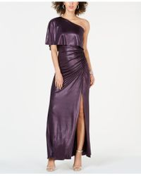 Adrianna Papell One-shoulder Ruched Metallic Gown - Purple