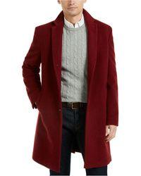 Tommy Hilfiger Addison Wool-blend Trim Fit Overcoat - Red