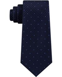 Michael Kors Dotted Glen-check Silk Tie - Blue