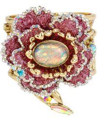 Betsey Johnson - Gold-tone Glitter Flower Hinged Bangle Bracelet - Lyst