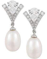 Arabella Cultured Freshwater Pearl (8mm) & Swarovski Zirconia Drop Earrings In Sterling Silver, Created For Macy's - Metallic