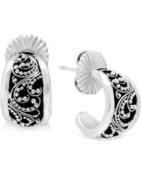 Lois Hill - Decorative Hoop Earrings In Sterling Silver - Lyst