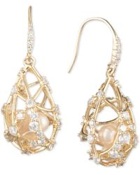Carolee - Gold-tone Crystal & Imitation Pearl Caged Drop Earrings - Lyst