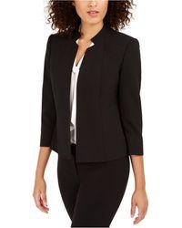 Anne Klein Star-collar Open-front Blazer - Black