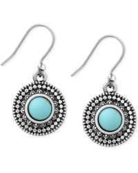 Lucky Brand Silver-tone Reconstituted Turquoise Drop Earrings - Blue