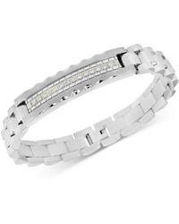 Macy's Diamond (1/5 Ct. T.w.) Id Bracelet In Stainless Steel - Metallic
