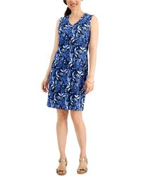 Karen Scott Petal Bunches Printed V-neck Dress, Created For Macy's - Blue
