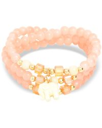 Zenzii Gold-tone Elephant Charm Beaded Multi-row Bracelet - Metallic