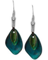 Robert Lee Morris Silver-tone Layered Sculptural Patina Drop Earrings - Blue