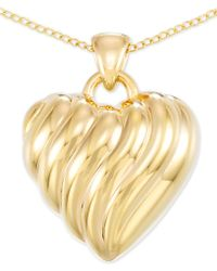"""Signature Gold Diamond Accent Heart 18"""" Pendant Necklace In 14k Gold Over Resin, Created For Macy's - Metallic"""