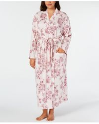 Charter Club Plus Size Cotton Floral-print Robe, Created For Macy's - Pink