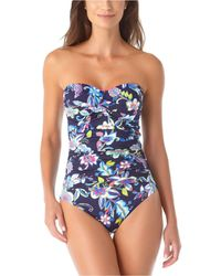 Anne Cole Holiday Paisley Twist-front Strapless One-piece Swimsuit - Blue