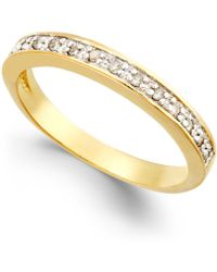 Macy's - Diamond Band (1/10 Ct. T.w.) In 18k Gold Over Sterling Silver - Lyst