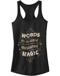 Fifth Sun Harry Potter Dumbledore Words Are Magic Quote Juniors Racerback Tank - Black