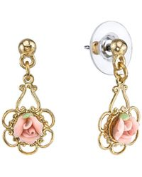 2028 - Gold-tone Porcelain Rose Drop Earrings - Lyst