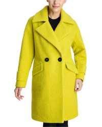 BCBGeneration Double-breasted Bouclé Walker Coat, Created For Macy's - Yellow