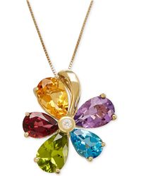 Macy's - Multi-gemstone (12-7/8 Ct. T.w.) And Diamond Accent Flower Pendant Necklace In 14k Gold - Lyst
