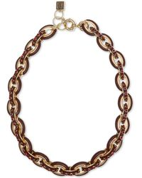 """Laundry by Shelli Segal Gold-tone Pavé & Enamel Chain Link Collar Necklace, 16"""" + 2"""" Extender - Red"""