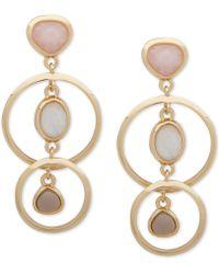 Anne Klein - Gold-tone Stone Orbital Drop Earrings - Lyst