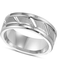 Triton - White Tungsten Carbide Ring, 8mm Diamond-cut Wedding Band - Lyst