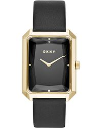 DKNY - Cityspire Black Leather Strap Watch 27x34mm, Created For Macy's - Lyst