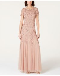Adrianna Papell Floral-beaded Gown - Pink