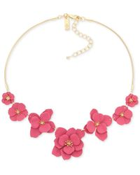 """INC International Concepts Inc Gold-tone Painted Flower Statement Necklace, 17"""" + 2"""" Extender, Created For Macy's - Pink"""