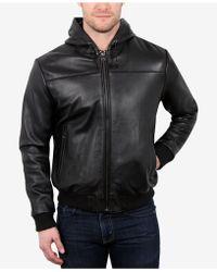 William Rast Men's Leather Hoodie - Black