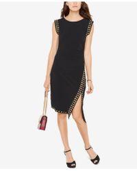 Michael Kors Stud-trim Side-slit Dress - Black