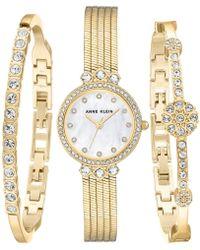 Anne Klein Goldtone And Swarovski Crystal Bracelet And Watch 3-piece Set - Metallic