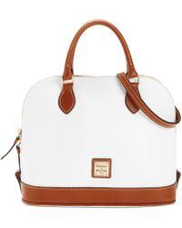 Dooney & Bourke Pebble Leather Zip Zip Satchel - White