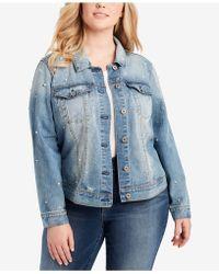 Jessica Simpson Plus Size Peony Ruffled Denim Jacket - Blue