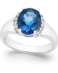 Macy's - London Blue Topaz (3-1/5 Ct. T.w.) And Diamond (1/6 Ct. T.w.) In Sterling Silver - Lyst