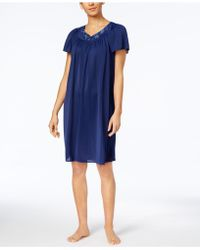 Miss Elaine | Short-sleeve Embroidered Nightgown | Lyst