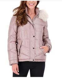 Vince Camuto High-shine Faux-fur-trim Hooded Puffer Coat, Created For Macy's - Multicolor