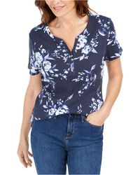 Karen Scott Petite Floral-print Henley Top, Created For Macy's - Blue