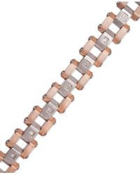 Macy's - Men's Diamond Bracelet In Stainless Steel And Rose Ion-plate (1/5 Ct. T.w.) - Lyst