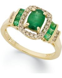 Macy's - 14k Gold Ring, Emerald (1 Ct. T.w.) And Diamond (1/5 Ct. T.w) Rectangle Ring - Lyst