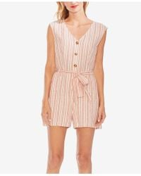 Two By Vince Camuto Extend Shoulder Riviera Stripe Belted Linen Romper - Pink