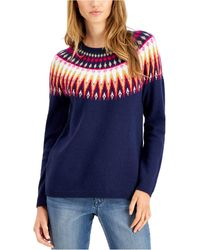 Style & Co. Fair Isle Sweater, Created For Macy's - Blue