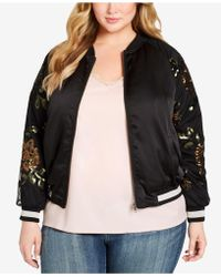 Jessica Simpson Plus Size Tabby Embroidered Bomber Jacket - Black