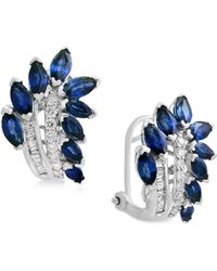 Effy Collection - Sapphire (3-1/10 Ct. T.w.) & Diamond (1/4 Ct. T.w.) Drop Earrings In 14k White Gold - Lyst