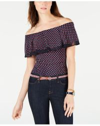 21964922265dad Lyst - Tommy Hilfiger Paisley-print Off-the-shoulder Top