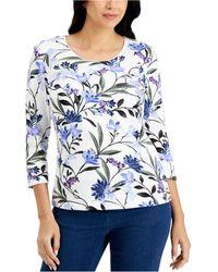 Karen Scott Printed 3/4-sleeve Top, Created For Macy's - Multicolour